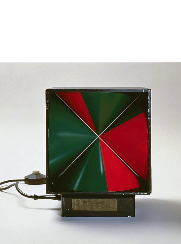 Tetracono, 1965 alluminio, ferro smaltato e animazione elettromeccanica, cm 22x26,3hx21,3