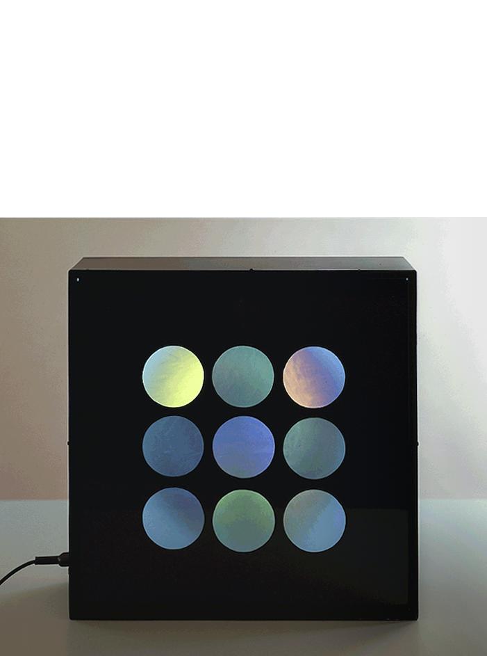 Polariscop, 1966 metallo, filtro polarizzante e cellofan, cm 50x50hx15