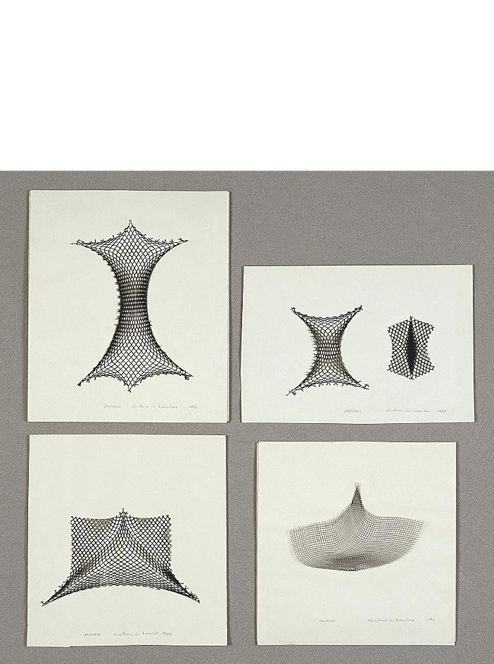 Strutture in tensione, 1969 rete di metallo fissata con fili di acciaio su cartoncino