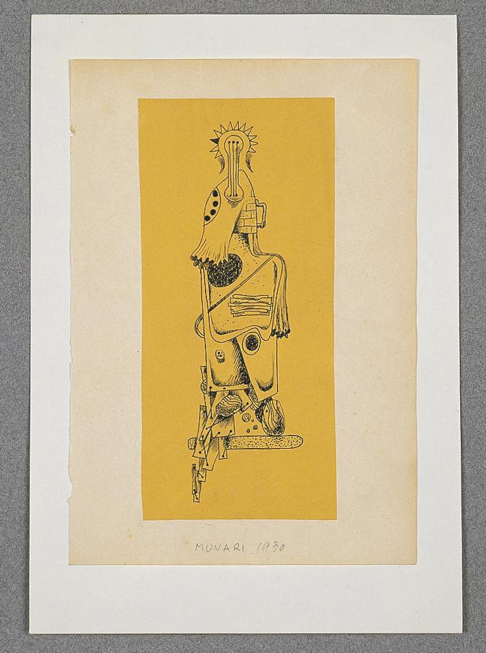 Senza titolo, 1930 china su carta ocra applicato su carta beige cm 11x16h