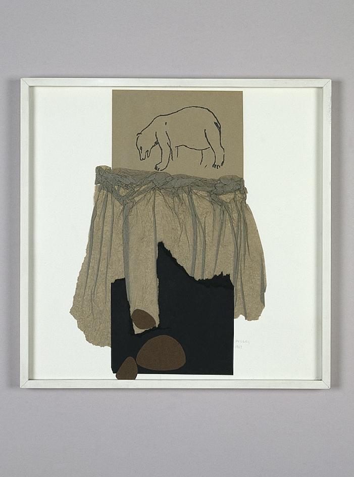 Nella notte buia, 1967 collage su cartoncino, cm 36,5x36,5