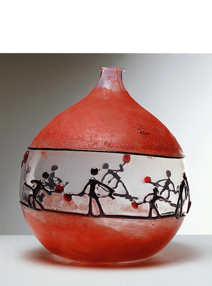 Vaso Fornace n.7, 1961 Fascia centrale raffigurante la lavorazione del vetro; figure in pasta vitrea applicata nera e rubino cm 32,5 (diam.) x 35,2