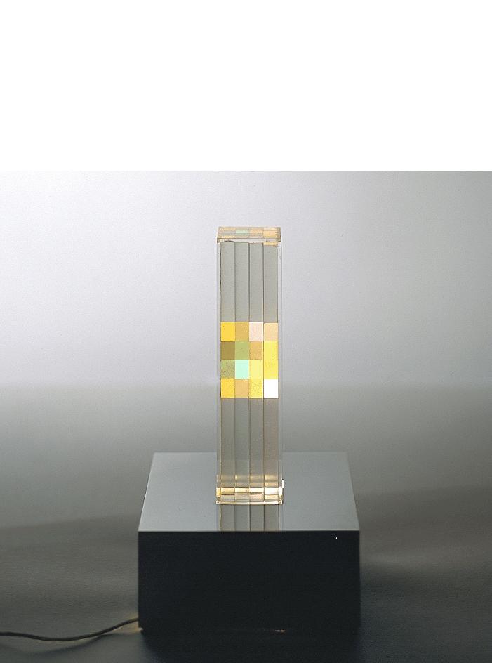 Cromostruttura, 1961/1970 edizione limitata di 100 esemplari numerati e firmati; es. n° 51/100 perspex, illuminazione interna, alimentazione elettrica cm 15x15x25h