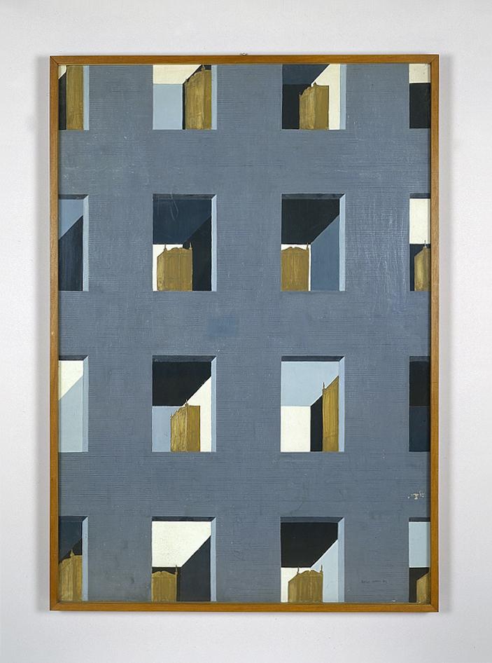 Casa d'affitto, 1954  tempera su tavola cm 69,5x100h