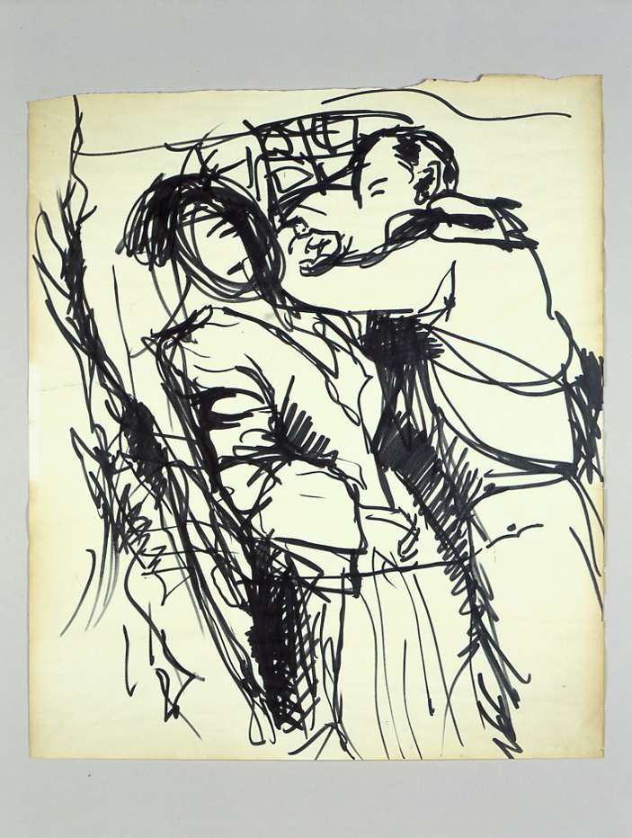 Due figure, 1950 inchiostro su carta cm 49,2x58,5h